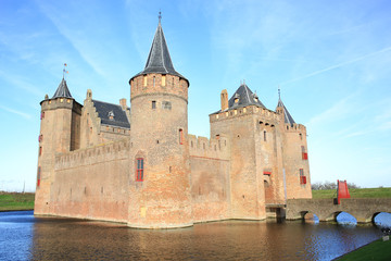 Photo sur Aluminium Chateau The medieval Muider Castle in North Holland, The Netherlands