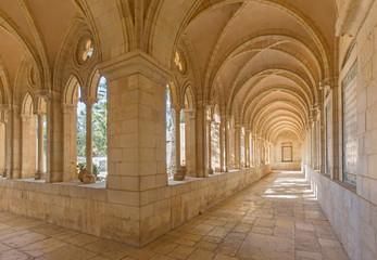 JERUSALEM, ISRAEL - MARCH 3, 2015: The gothic corridor of atrium in Church of the Pater Noster on Mount of Olives.