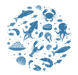 Seafood icons set in round shape,silhouette. Sea food collection isolated on white background. Fish products, marine meal design element. Vector illustration