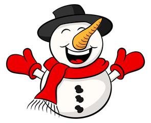 Cartoon Schneemann auf weißem Hintergrund