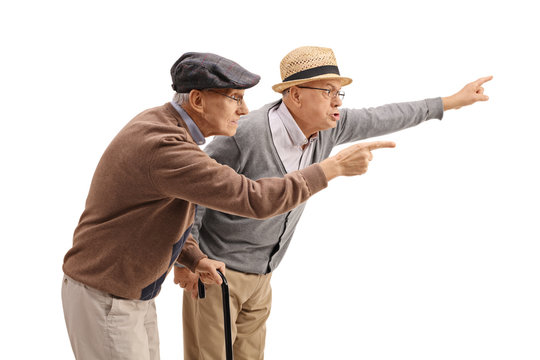 Two elderly men arguing with someone