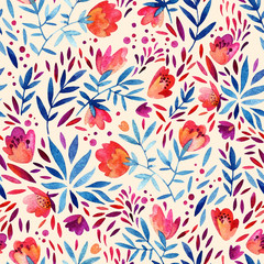 Watercolor ornate flowers seamless pattern.