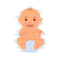 Playful baby is wearing a diaper. Toddler isolated on white background. Cartoon baby portrait top view. Raster copy