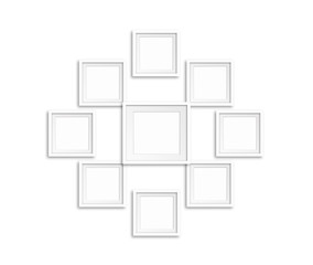 Collage of nine blank photo frames, interiors mock up