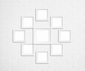 Collage of nine blank photo frames on bricks wall, decor mock up