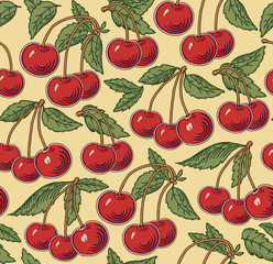 Cherry ripe on the tree isolated. Red cherry. Engraving, drawing. Freehand. Flora. Vintage vector realistic illustration. Background seamless. Wallpaper baroque Vector victorian style Illustration.