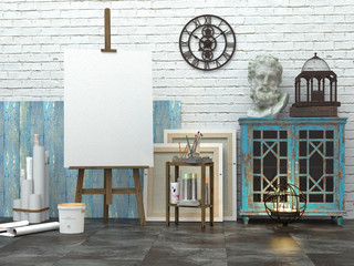 Easel with blank white canvas in the loft interior, 3d illustration of the artist's studio
