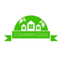 Logo dla firmy z branży ekologicznej, domy i liście