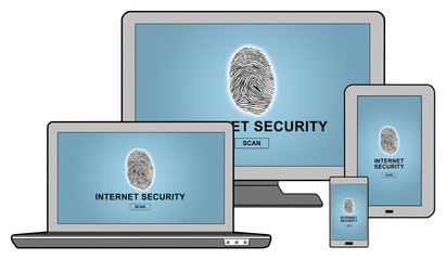 Internet security concept on different devices