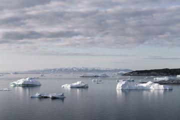 beautiful icebergs on the arctic ocean in Greenland