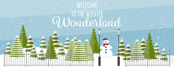 Wide vector winter background. Cute fir trees in different shapes and forms, snowman, fence and lanterns. Cartoon colorful snowfall landscape.