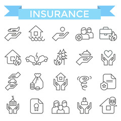 Insurance icons, thin line flat design