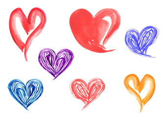Watercolor vintage set of different color hearts. On an isolated white background. Drawing can be used for decoration and for Valentine's Day