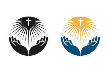 Religion vector logo. Church, Pray or Bible icon Fototapete