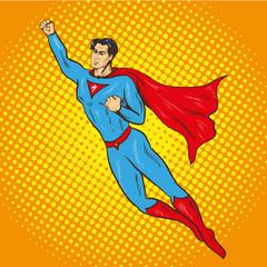 Vector illustration of flying up superman, retro pop art style