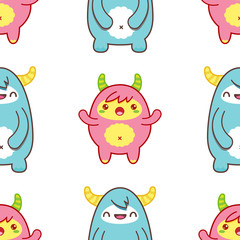 Seamless pattern with cute yeti. Vector illustration