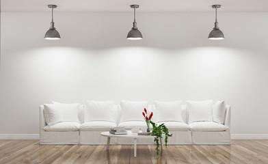 Divano bianco illuminato in stanza con parquet industrial render
