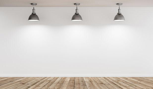 Stanza vuota illuminata con faretti a soffitto e parquet render