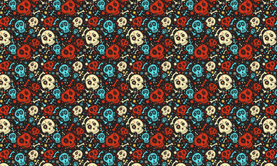 Day of The Dead colorful mexican skull with floral ornament and flower seamless pattern