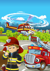 Cartoon stage with different machines for firefighting - truck and helicopter and firefighter - colorful and cheerful scene - illustration for children