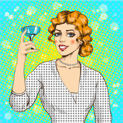 Vector illustration of woman with cocktail in pop art style