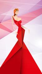 Obraz kobieta w czerwonej sukni wektor - fototapety do salonu