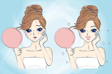 cartoon skin care woman