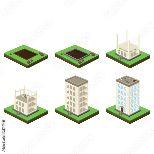 Skyscraper building process isometric illustration of house skyscraper building process isometric illustration of house construction six stages ccuart Gallery