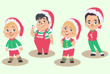 Vector set of Christmas elves, isolated on white background
