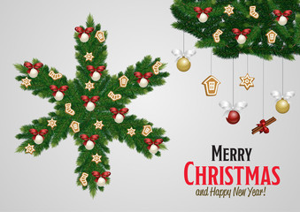 Merry Christmas and Happy New Year greeting card vector illustration. Xmas congratulation with christmas composition. Christmas decorations with fir tree and decorative elements.