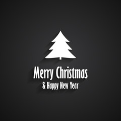 Merry Christmas and Happy New Year black greeting card