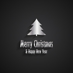 Merry Christmas and Happy New Year black greeting card with silver Christmas tree