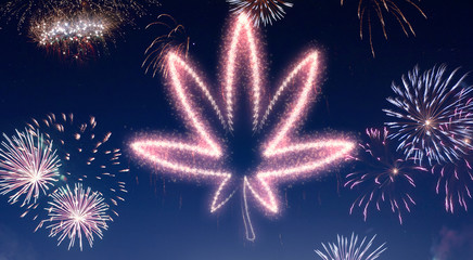 Night sky with fireworks shaped as a weed leaf.(series)