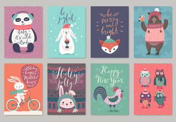 Wall Mural - Christmas animals card set, hand drawn style.