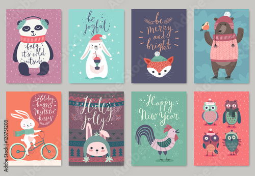 Wall mural Christmas animals card set, hand drawn style.