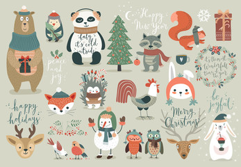 Wall Mural - Christmas set, hand drawn style - calligraphy, animals and other elements.