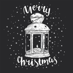 Vintage Christmas lantern and inscription. Vector illustration for a card or poster. New Year's and Christmas. Winter. Beautiful light.