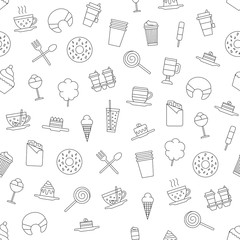 Cafe sweets icons pattern