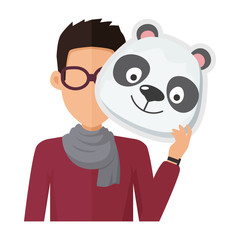 Man Without Face in Glasses with Panda Mask