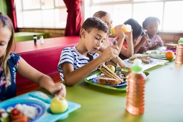 Children eating at the canteen