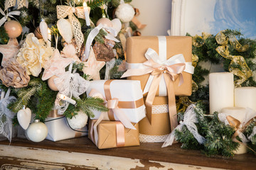Christmas decorations, Christmas tree, gifts, new year