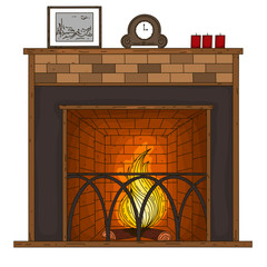 Fireplace. Vector illustration. Doodles. Hand draw.