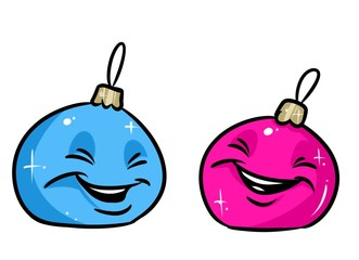 Christmas ball pink blue smile cartoon illustration isolated image character
