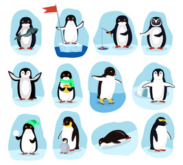 Penguins Daily Activities Posters Cartoon Set