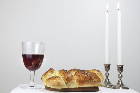 Shabbat Observance, Challah,Two Candles,Glass Of Wine