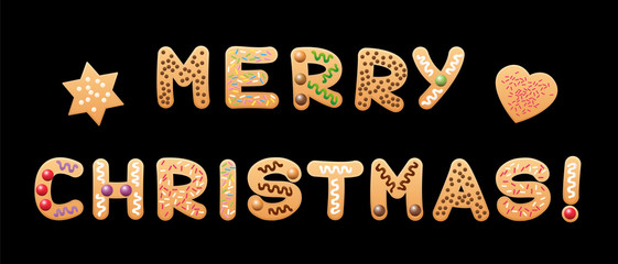 MERRY CHRISTMAS - written with christmas biscuits letters on black background.