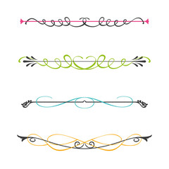 Vector set of two color calligraphic design elements and page decor