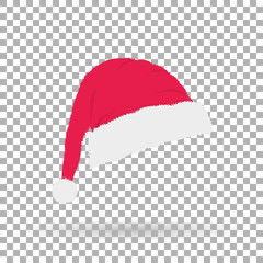 a cap of Santa Claus on Christmas and New Year with shadow on the background isolate, stylish vector illustration