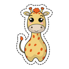 cute giraffe kawaii character vector illustration design