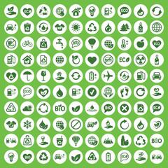 eco bio 100 set green simple icons in white circle